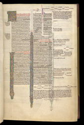 Historiated Penwork Flourishing, In Zacharias Chrysopolitanus' 'Harmony of The Gospels'